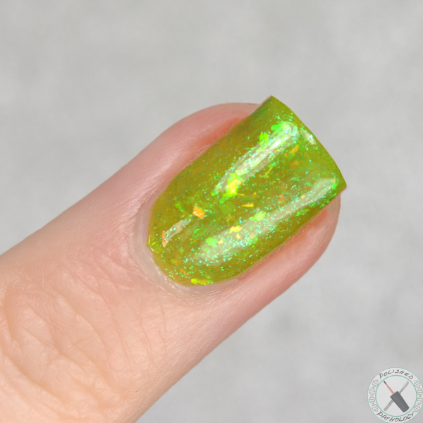 Ever After Polish Flake It Up Jelly Collection Limearita swatched by Polished Pathology