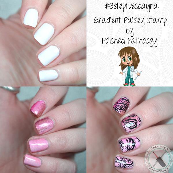 3 Step Tuesday Nail Art - Gradient Paisley Stamp - Polished Pathology